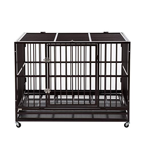PANEY 48' Large Dog Crate Kennel Folding Heavy Duty Dog Cage with Metal Tray Wheels Pet Playpen