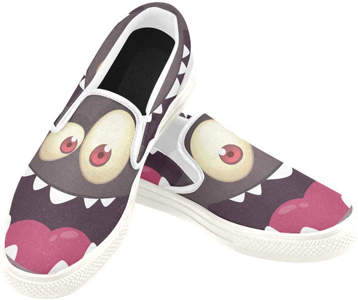 InterestPrint Womens Slip On Canvas shoes Loafers Cool Monster Face Girls Classic Casual Sneakers Flats