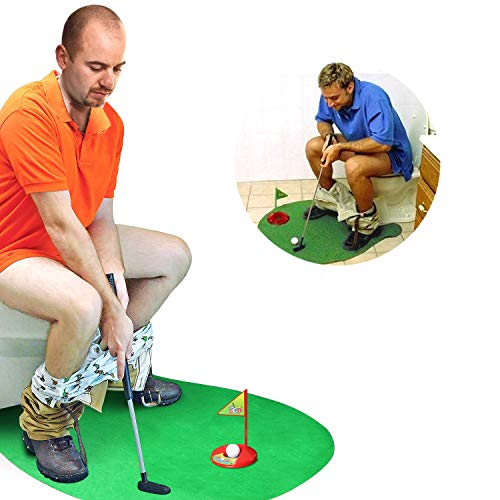 Novelty Place Toilet Golf Potty Putter Game Set - Practice Mini Golf in Any Restroom/Bathroom - Great Toilet Time Funny Gag Gifts for Golfer