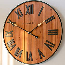 Hamlet Large Farmhouse Wall Clock, 24 Big Rustic Decorative Wooden Wall Clocks for Living Room Decor, Giant Vintage Oversized Kitchen, Bathroom, Bedroom Wall Clock, Battery Operated Silent Clock