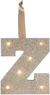 Letter Z Gold Glitter Glam Light UP Letters LED Marquee Wooden Alphabet Letter Z (Perfect for Christmas Tree Ornaments) Monogram Initial (Z)