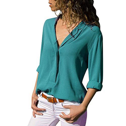 ITISME Damen T Shirt Blusen, FRAUEN BLUSE Einfarbig V-Ausschnitt Kurzarm Knopf Tasche Hemd Mehrere Größen und Mehrere Farben 2020 Sommer Elegante Causal Business Bürodame Top Oberteile Plus Size S-5XL