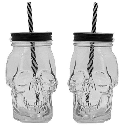 Pink Panther GmbH kostenloser Versand Bada Bing 2er Set Trinkglas Totenkopf mit Deckel schwarz weiß Strohhalm Halloween