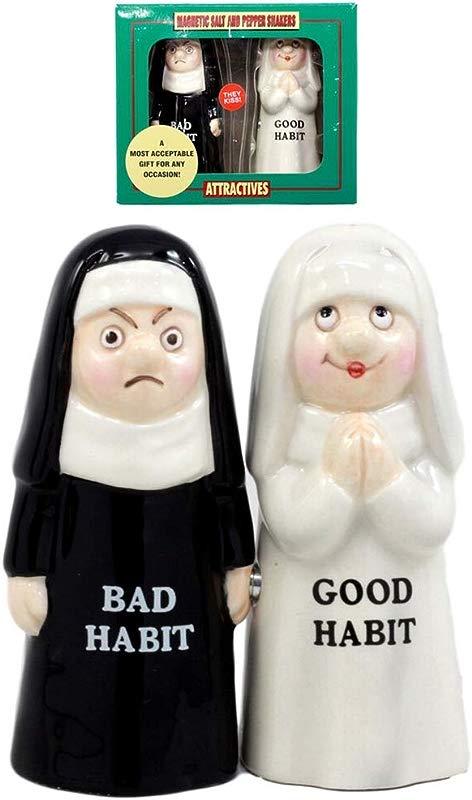 Ky Co YK Bad And Good Habits Nun Pair Salt Pepper Shakers Ceramic Magnetic Figurine