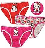 alles-meine.de GmbH 3 TLG. Slip / Unterhosen -  Katze - Hello Kitty  - Größe 4 bis 5 Jahre - Gr. 110 bis 116 - 100 % Baumwolle - Mädchenslip / Unterwäsche - für Kinder Pants Un..
