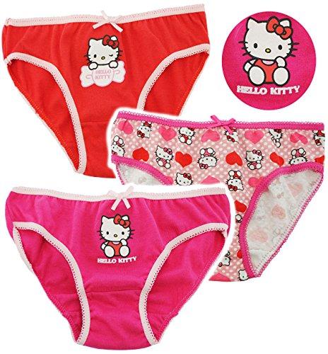 alles-meine.de GmbH 3 TLG. Slip / Unterhosen -  Katze - Hello Kitty  - Größe 6 bis 8 Jahre - Gr. 122 bis 134 - 100 % Baumwolle - Mädchenslip / Unterwäsche - für Kinder Pants Un..