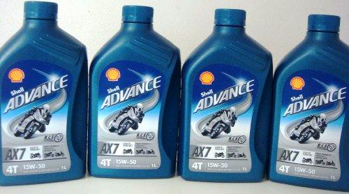 Coque Advance 4T AX7 15 W50 Semisinthetic Moto Huile 4 x 1 = 1 4 litre