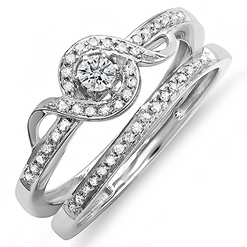 Dazzlingrock Collection 0.25 Carat (ctw) Sterling Silver Round Diamond Ladies Bridal Promise Ring Set Matching Band 1/4 CT, Size 7 Diamond Ladies Bridal Set
