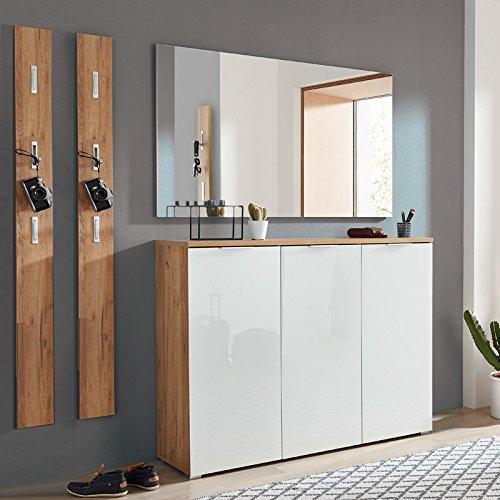 Komplett Garderobenset in Navarra-Eiche weiß, Schuhschrank mit weißer Glasfront, Spiegel und 3 Garderobenpaneelen