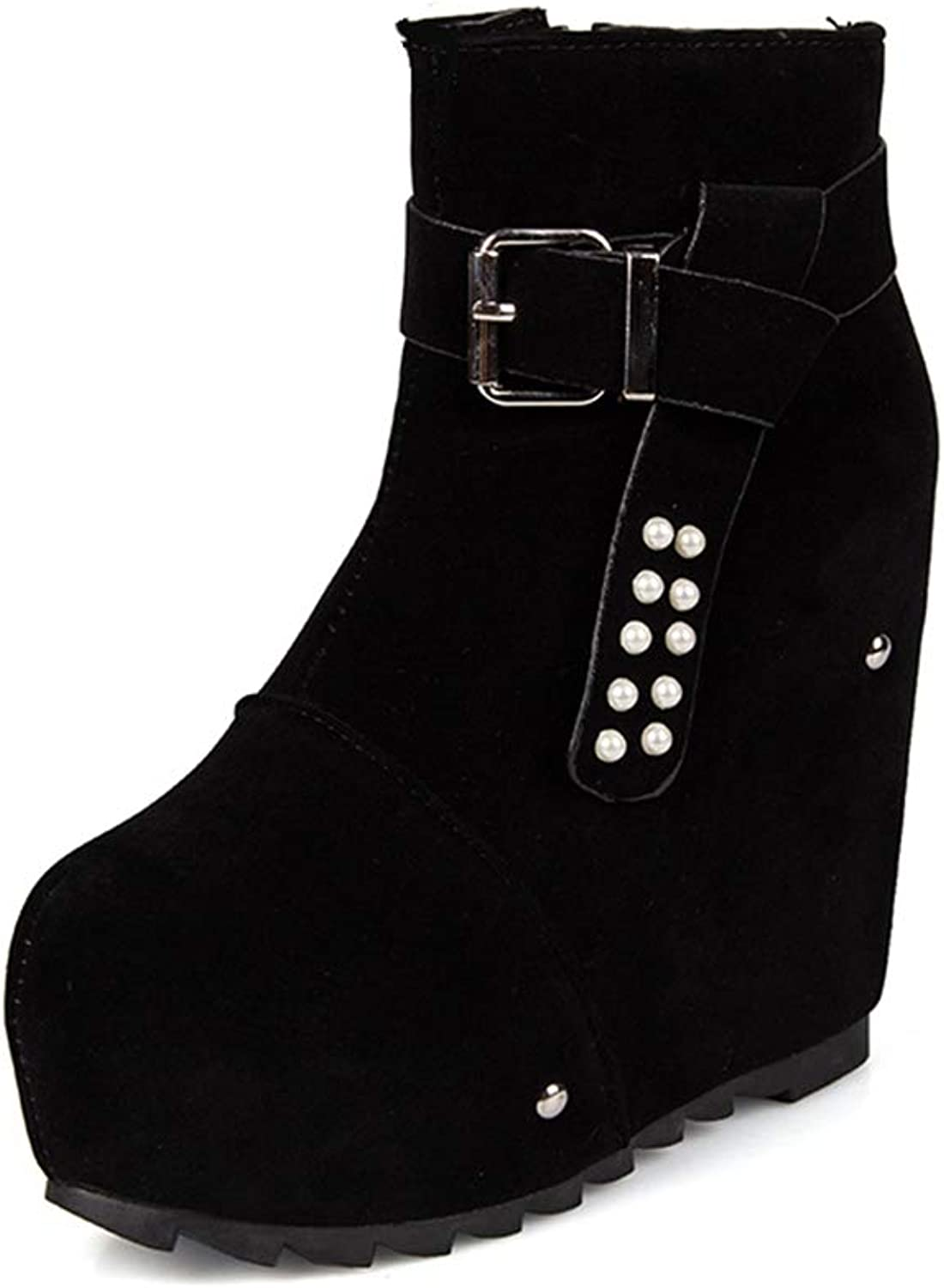 Women's Ankle Boots Wedges Hidden Height Increased Female Platform Boot Zipper Sexy Ladies Boot