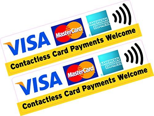 2 x kontaktlösa kortbetalningar Welcome Visa MasterCard AMEX kreditkort klistermärke tryckt vinylbutik taxi