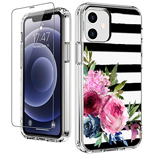"""LUHOURI for iPhone 12 Case,iPhone 12 Pro Case with Screen Protector,Elegant Floral Flower Designs on Crystal Clear Cover for Women Girls,Protective Phone Case for iPhone 12/12 Pro 6.1"""""""