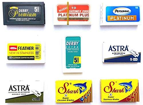 60 Rasierklingen für Rasierhobel, Astra-Derby-Feather-Satinex-Shark-Personna-Shark, Rasierklingen Set, 9 verschiedene Klingentypen