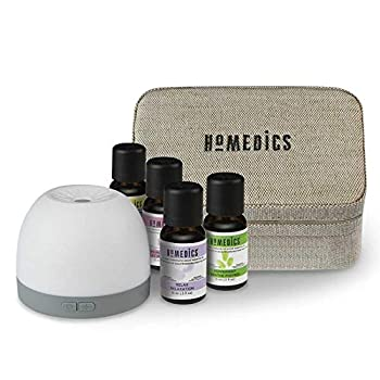 Homedics Essential Oil & Diffuser Gift Set - Aromatherapy Kit with Essential Oils Ultrasonic Diffuser Replacement Pads USB & Travel Case