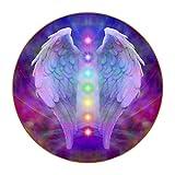 Posavasos de alas de ángel y siete chakras, resistente al calor, reutilizable con base de poliuretano para bebidas, set de regalo y decoración de apartamentos de cocina bar