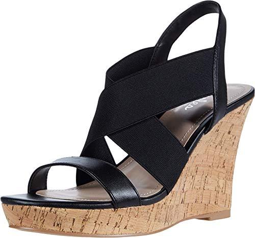 CHARLES BY CHARLES DAVID Women's Wedge Sandal Platform, Black, 9