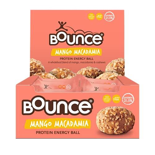 Bounce Mango Macadamia Protein Ball- New! Box of 12. High protein gluten free low sugar healthy snacks whey protein beats any protein bar! Snack healthy with Bounce protein bars, snacks & powders.