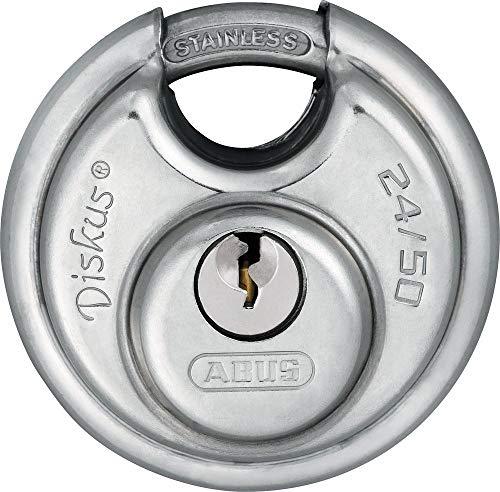 ABUS Diskus® Vorhängeschloss 24IB/50 aus Edelstahl - mit 360° Rundumschutz - zur Sicherung bei starken Witterungseinflüssen - 32123 - Level 7 - Silber/Blau