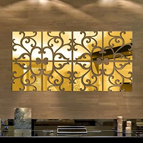 Vovotrade 32pcs bricolage 3D Miroir acrylique Decal Sticker mural mur Home Decor amovible (Or)