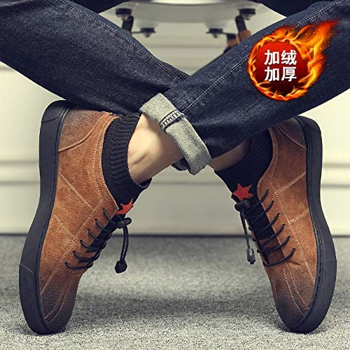 LOVDRAM Stiefel Männer Herbst Und Winter Männer Hohe Schuhe Schuhe Schuhe Leder Elastische Mode Schuhe Mode Retro Herrenschuhe Mode Stiefel Martin Schuhe Casual Board  bester Verkauf