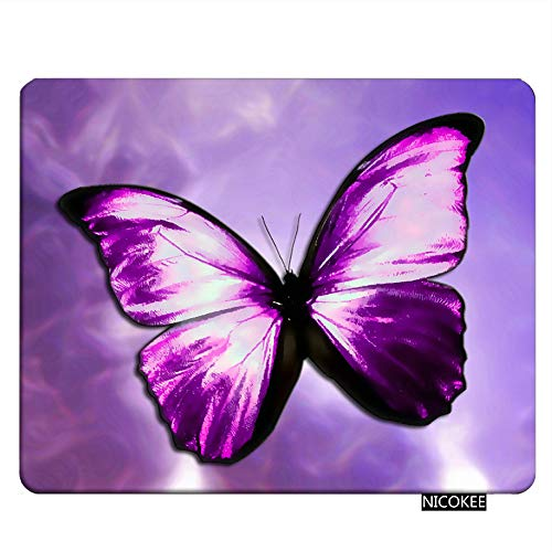 Nicokee Butterfly Gaming Mousepad The Magical Mystical Purple Butterfly Mouse Pad Rectangle Mouse Mat for Computer Desk Laptop Office 9.5 X 7.9 Inch Non-Slip Rubber