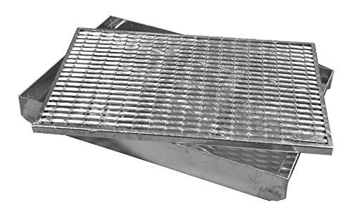 ACO Maschenrost mit V-Stab Fußabtreter + Emco ALU Bodenwanne Schuhabstreifer Abtreter Wanne, Größe:1000 x 500 mm