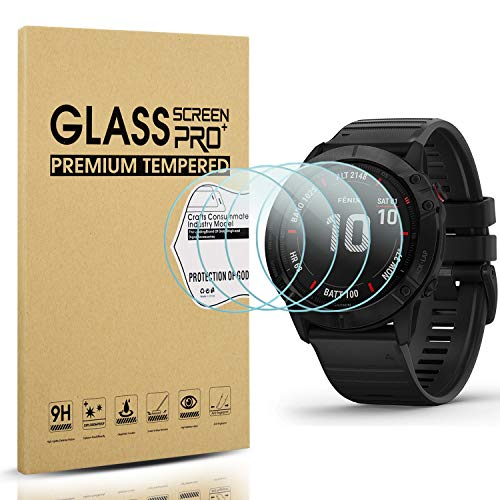 Diruite 4 Stück für Garmin Fenxi 6X/Fenix 6X Pro/Fenix 6X Pro solar Panzerglas Schutzfolie, HD Glas Displayschutzfolie für Fenxi 6X Intelligente Uhr [Anti-Kratzen] [Anti-Öl] [Keine Blasenfrei]