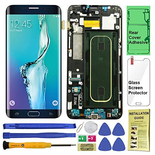 Display-Touchscreen (AMOLED) Digitizer mit Rahmen für Samsung Galaxy S6 Edge + (5,7 Zoll) (Reparatur-Werkzeugsets), T-Mobile, schwarz