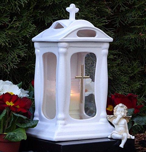 ♥ Graflamp graflicht keramiek wit glas met kruis en grafkaars graflantaarn grafversiering graflamp lantaarn kaars lamp licht graf