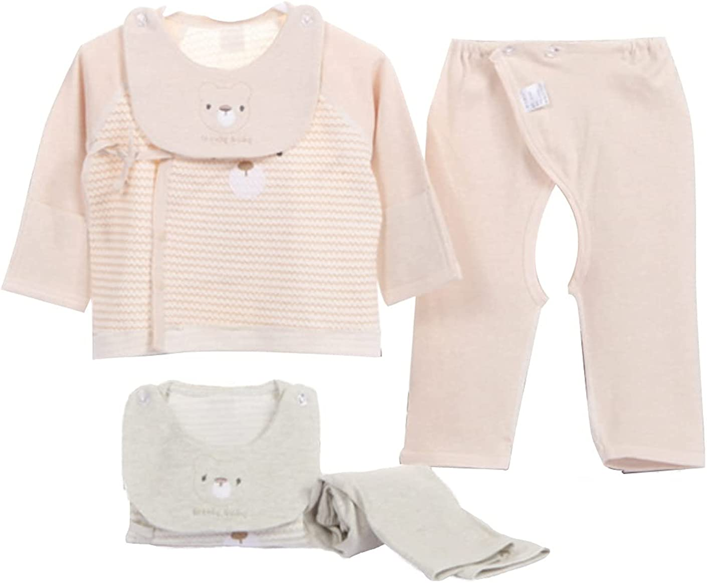 Unisex Baby Natural Coloured Organic Cotton Long-Sleeve Clothes No Fluorescer No Chemical Dye