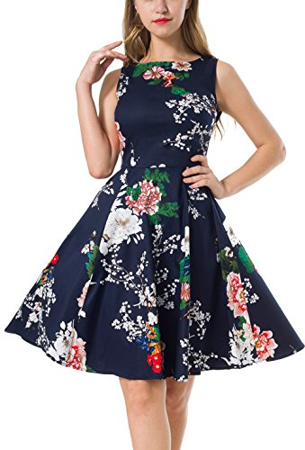 NINEWE Women's Classy Audrey Hepburn 1950s Vintage Rockabilly Swing Dress (S, Navy Flower)