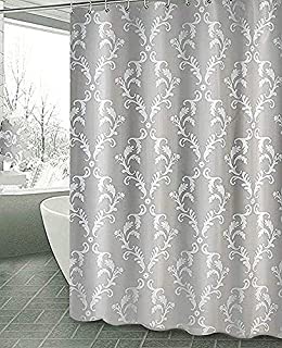 Bluebell Collections Grey and White Shower Curtain - Decorative Design Unique and Elegant Shower Curtain for Your Bathroom Decor 72x78 inches 180x200 cm