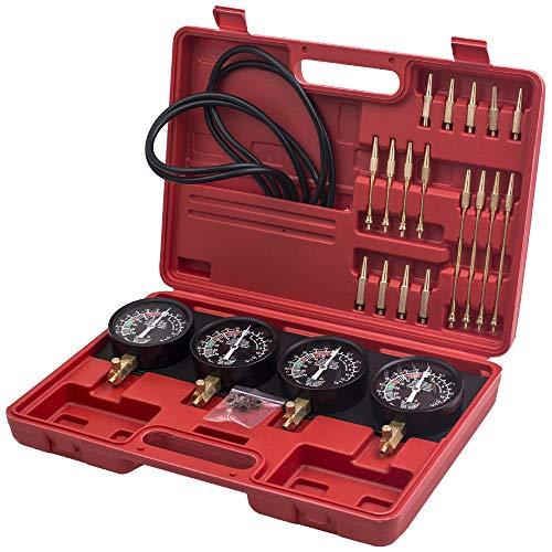 MaXpeedingrods Kit Sincronizador de Carburador Vacío 0-76cm/hg de Coche y Moto, Juego de Herramientas Vacío de Carburación para Combustible de Motor, 4 Medidores de Sincronizador en Maletín