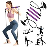 ShaggyDogz Portable Pilates Bar Kit with Resistance Band Yoga Exercise Pilates Bar with Foot Loop Toning Bar Yoga Pilates for Yoga,Stretch,Twisting,Sit-Up Bar Resistance Band (Purple) (Purple)