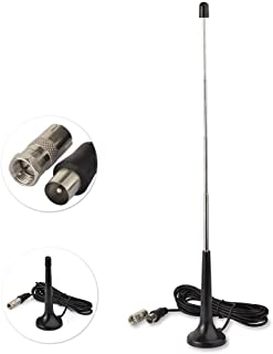 Superbat FM Antenna Replacement Kit 5 Section Telescopic Antenna with Magnetic Base + F Male to TV Female Adapter for Yamaha Pioneer Danon Stereo Receiver Indoor TV Tuner Television DAB Radio etc.