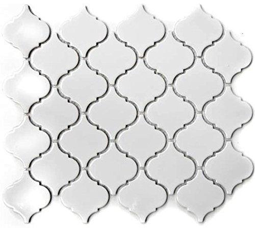 WB13-1WG - Azulejos de cerámica para baño o cocina, diseño retro, color blanco brillante