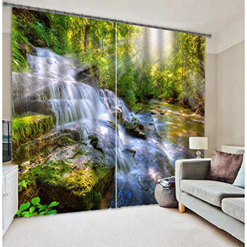 Water Cloud 3D Cortinas Impresa 2 Paneles para Sala De Estar Dormitorio Decoración Ojal/Anillo Paneles De Ventana Superior - Luz Solar