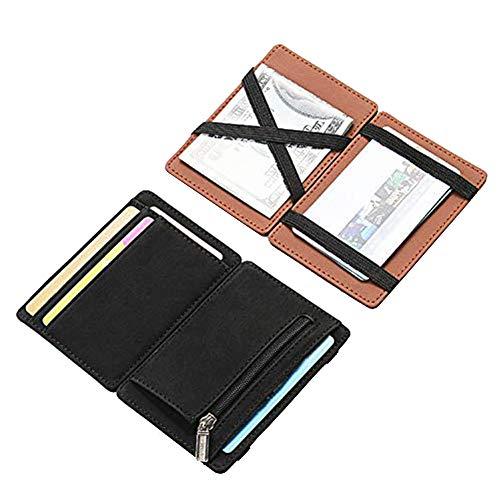 Fida&Moon ultra-thin minimalist men's magic wallet men's PU leather zipper coin purse bag plastic credit card bank card holder