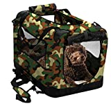 2PET Foldable Dog Crate - Soft, Easy to Fold & Carry Dog Crate for Indoor & Outdoor Use - Comfy Dog Home & Dog Travel Crate - Strong Steel Frame, Washable Fabric Cover (Small 20in, Disguise Camo)