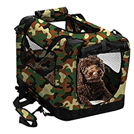 2PET Foldable Dog Crate – Soft, Easy to Fold & Carry Dog Crate for Indoor & Outdoor Use – Comfy Dog Home & Dog Travel Crate – Strong Steel Frame, Washable Fabric Cover (Small 20in, Disguise Camo)