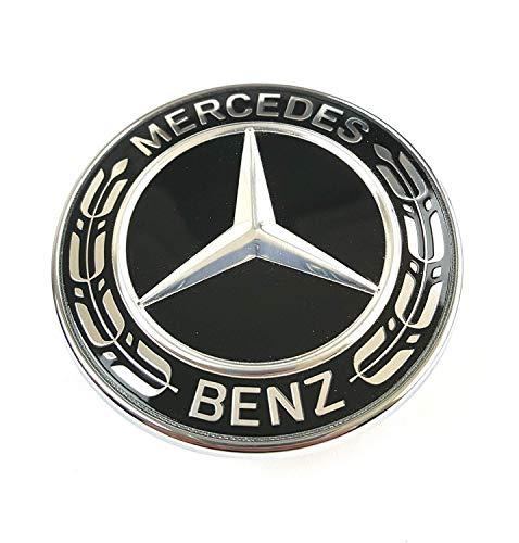 Emblem für Motorhaube MB Stern, 57 mm Ersatzabzeichen. Silber und Schwarz.