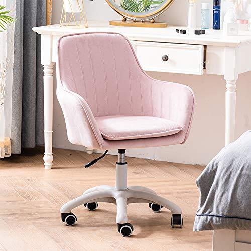 Sillas de oficina Silla de oficina / silla giratoria para el hogar, silla de trabajo ergonómica con reposabrazos, silla de escritorio de altura ajustable, ideal para dormitorio de oficina, rosa clar