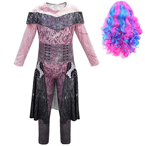 Nachkommen 3 Kostüm Für Mädchen Frauen,Halloween Cosplay Kostüm Audrey/Mal/Evie/Jay/Carlos Cosplay Jumpsuit Set 3D Gedrucktes Kleid Mädchen Halloween Kostüm Für Erwachsene Kinder,A,M
