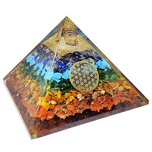 Real Crystal Seven Chakra Orgone Pyramid - 7 Chakra Orgonite Pyramid Energy Healing Crystals and Stones Emf Protection Pyramid Yoga Meditation Energy Generator Chakra Crystals - with Chakra Guide