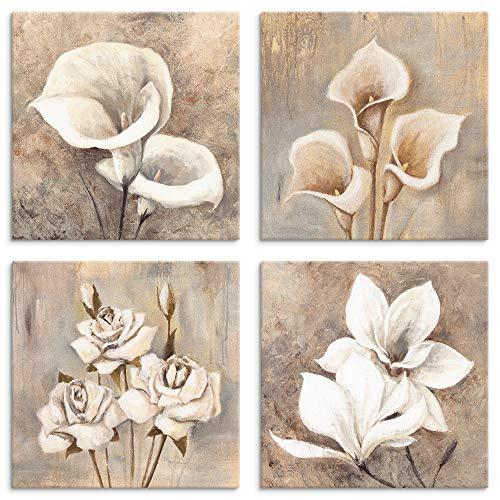 Artland Leinwandbilder auf Holz Wandbild Bild Set 4 teilig je 20x20 cm Blumen Blüten Calla Rosen Magnolie Malerei Kunst Shabby Landhaus U1OA