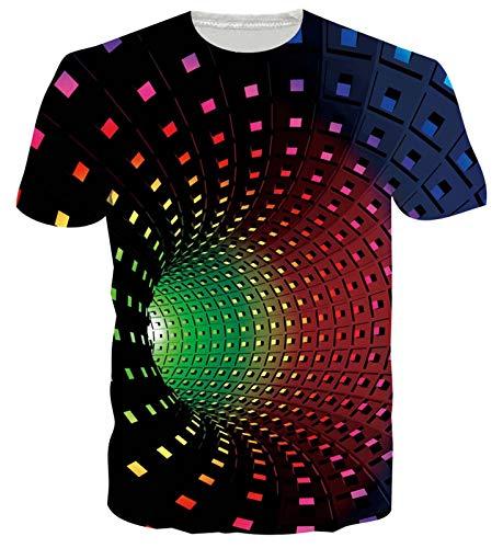 Goodstoworld 3D T Shirt Damen Herren Bunt Vorte Unisex Muster Druck Sommer Beiläufige Kurzarm T-Shirt Tshirt L