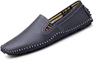 XinQuan Wang Men's Drive Loafers Casual New Leather Soft Sole Soft Lightweight Boat Moccasins (Color : Blue, Size : 8.5 UK)
