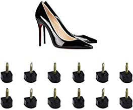 6 Pairs Black U Shaped Heel Non-Slip Heel Tip Tap Shoe Replacement Heel Cap Replacement Dowels Shoe Repair Cover for Lady Women Girls Thin Pins-3mm Size 10mm x 10mm