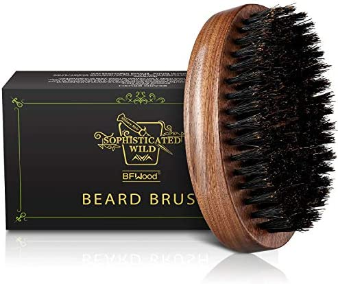 BFWood Boar Bristle Beard Brush Black Wood Walnut Military Style product image