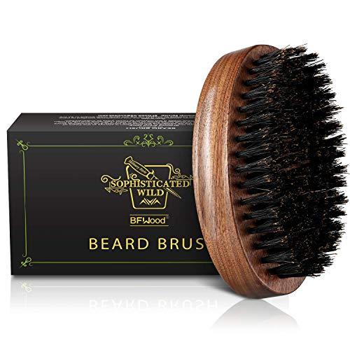 BFWood Boar Bristle Beard Brush - Black Wood Walnut Military Style